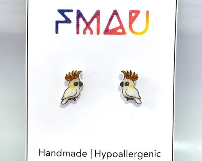 Yellow-Crested Cockatoo handmade hypoallergenic stud earrings Australian bird gift