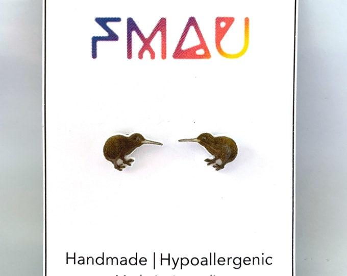 Brown kiwi handmade hypoallergenic stud earrings free shipping New Zealand bird gift
