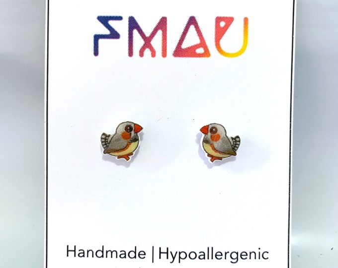 Zebra finch handmade hypoallergenic stud earrings free shipping australian bird gift