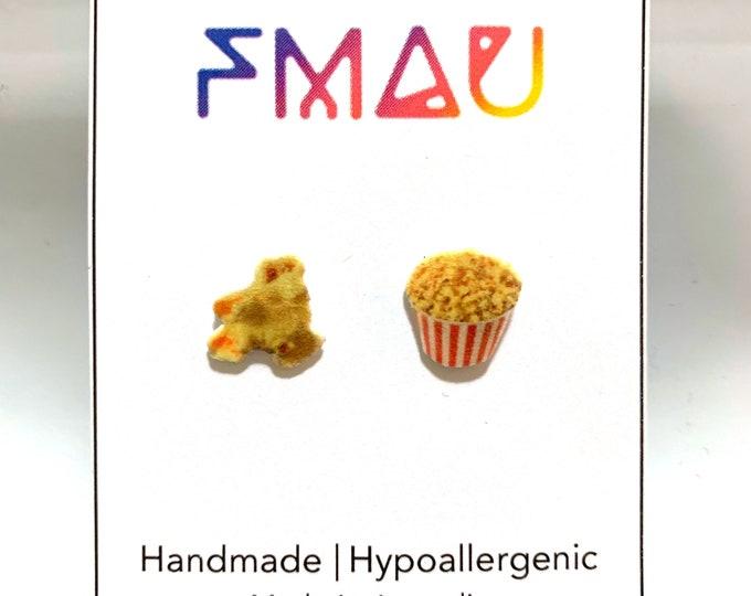 Popcorn handmade hypoallergenic stud earrings mini food jewelry jewellery gift idea girl cute fun cinema movies  free shipping international