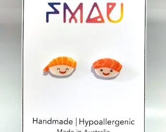 Cute sashimi handmade hypoallergenic stud earrings  gift japanese sushi kawaii