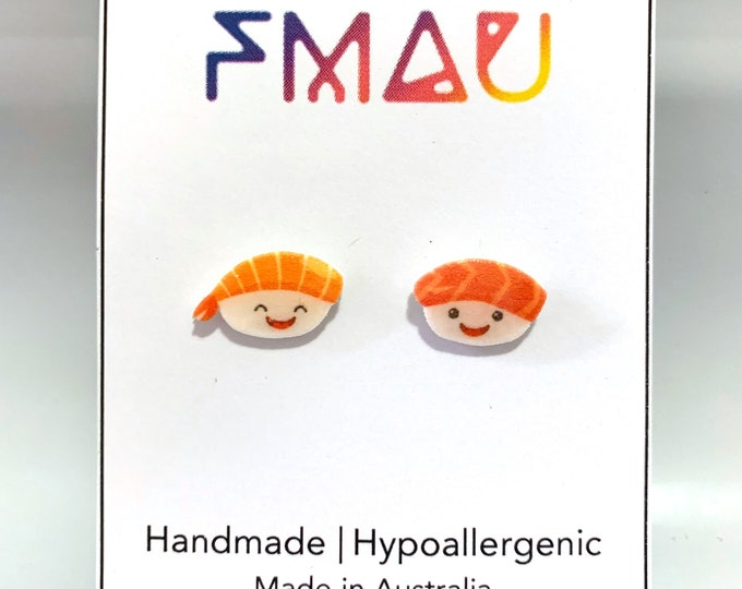 Cute sashimi handmade hypoallergenic stud earrings  gift japanese sushi kawaii