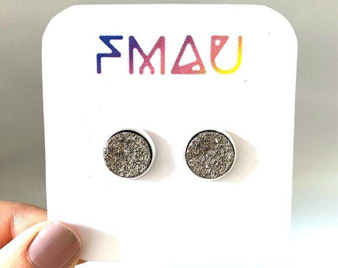 Dark silver druzy handmade stud earring free shipping 12mm gift free shipping