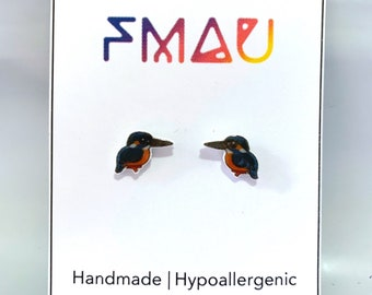 Common kingfisher handmade hypoallergenic stud earrings  bird gift