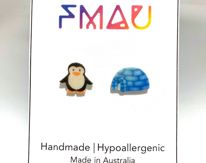 Penguin and igloo handmade hypoallergenic stud earrings free shipping  gift