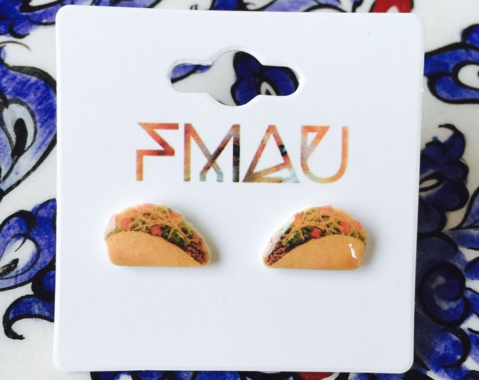 Taco handmade hypoallergenic earrings mini food fast food mexican jewelry jewellery gift idea girl cute fun