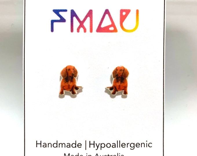 Dashchund handmade hypoallergenic stud earrings  gift dog
