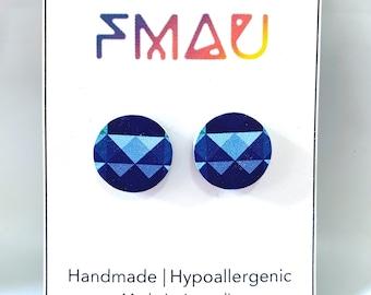 Blue geometric prism wooden handmade hypoallergenic stud earrings gift girl