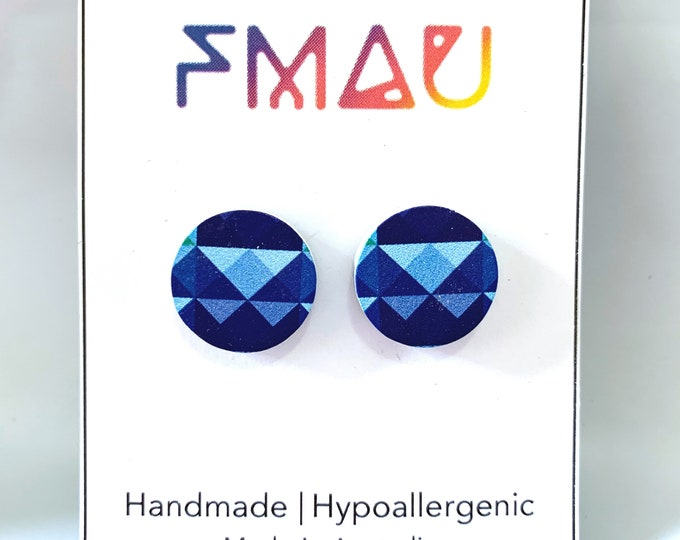 Blue geometric prism wooden handmade hypoallergenic stud earrings gift girl