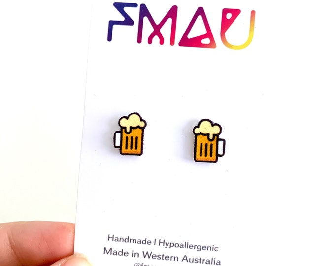 Beer glass Octoberfest handmade stud earrings pint hypoallergenic girl gift foodie cheers