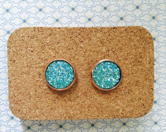 Crystal blue handmade stud earrings girl gift idea frozen sparkle 12mm