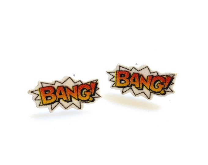 Bang! Comic stud earrings handmade hypoallergenic free shipping gift