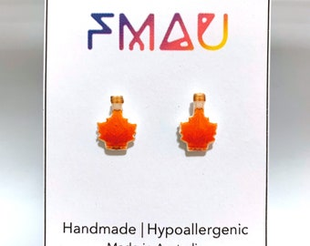 Maple syrup handmade hypoallergenic stud earrings free shipping gift food