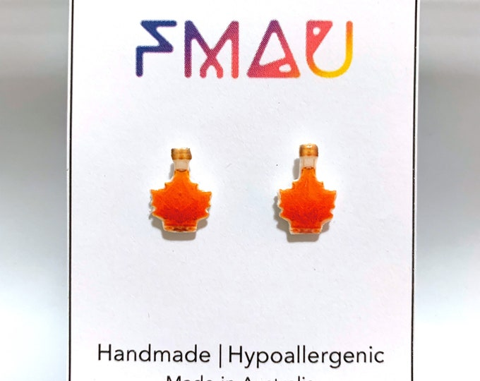Maple syrup handmade hypoallergenic stud earrings  gift food