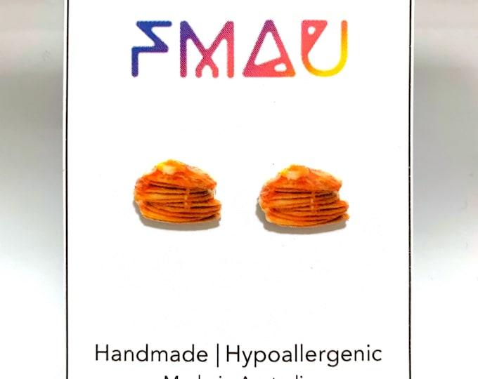 Pancake stack handamde hypoallergenic earrings mini food jewelry jewellery gift idea girl cute fun maple  free shipping international