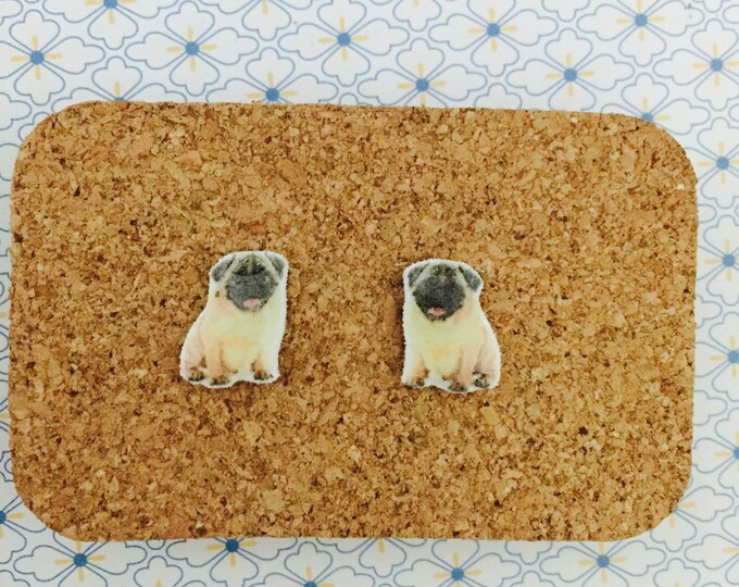 Pug Dog handmade hypoallergenic stud earrings cute gift idea girl mini animal  free shipping international