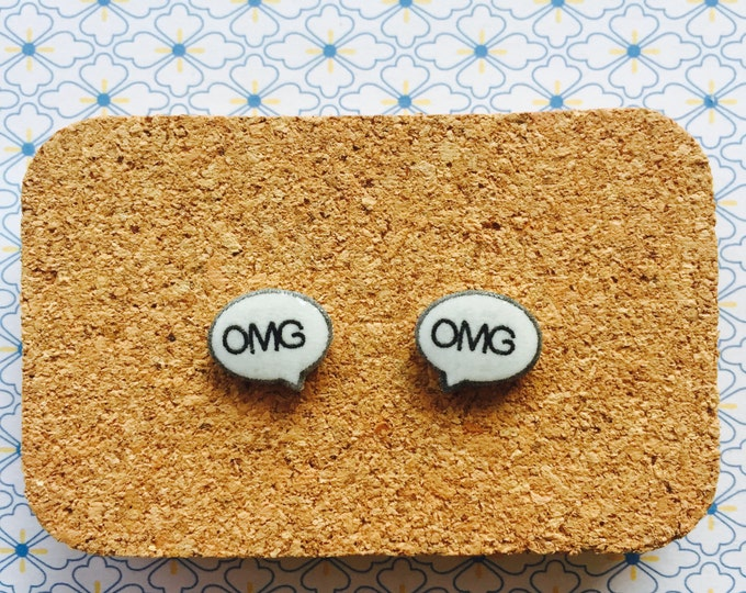 OMG speech bubble handmade hypoallergenic stud earrings girl gift tween