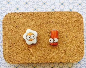 Bacon and egg cute handmade hypoallergenic stud earrings girl gift christmas   international