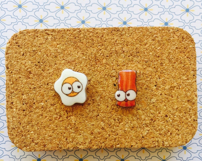 Bacon and egg cute handmade hypoallergenic stud earrings girl gift christmas  free shipping international