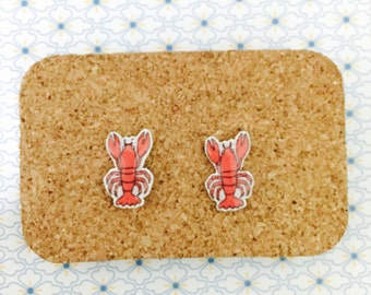 Lobster handmade hypoallergenic earrings crayfish mini animal food jewelry jewellery gift idea girl cute fun   international
