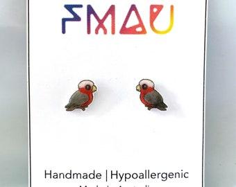Galah handmade hypoallergenic cute stud earrings bird Australian gift