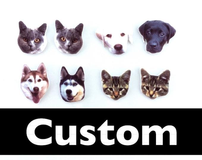 Custom pet handmade stud earrings hypoallergenic dog car mouse rabbit girl gift
