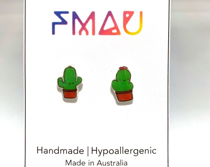 Boy and girl cactus handmade hypoallergenic stud earrings girl gift him and her cute cacti free shipping