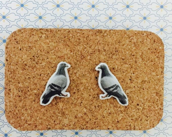Pigeon handmade stud earrings animal bird girl gift idea  free shipping international