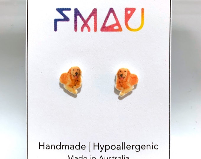 Golden retriever handmade hypoallergenic stud earrings  gift dog