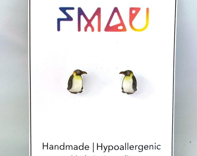 Emperor Penguin handmade hypoallergenic stud earrings free shipping  bird gift