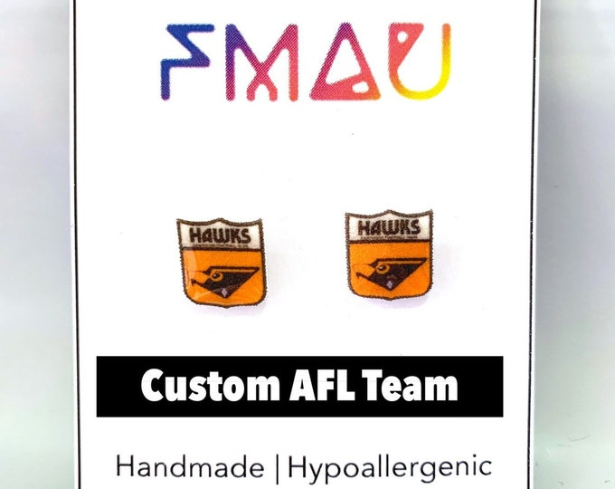 Custom sports team handmade hypoallergenic stud earrings basketball basebell rugby australian football soccer  free shipping