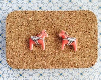 Swedish horse handmade hypoallergenic stud earrings sweden gift idea girl cute   international