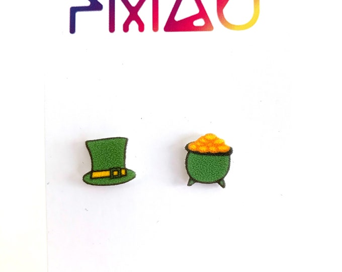 Irish leprechaun handmade hypoallergenic stud earrings girl gift st Patrick's day