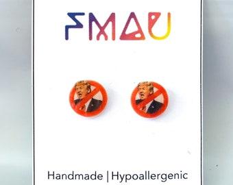 Donald Trump hypoallergenic handmade stud earrings jewelry jewellery gift idea girl fun political   international