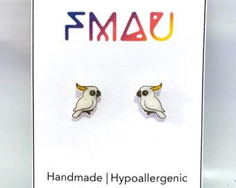 Sulphur-Crested Cockatoo handmade hypoallergenic stud earrings free shipping australian bird gift