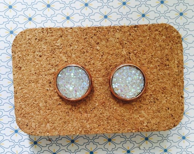 White crystal sparkling handmade stud earrings sparkly girl gift idea 12mm