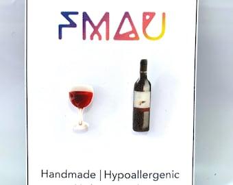 Red wine glass bottle handmade hypoallergenic earrings girl gift idea christmas   international