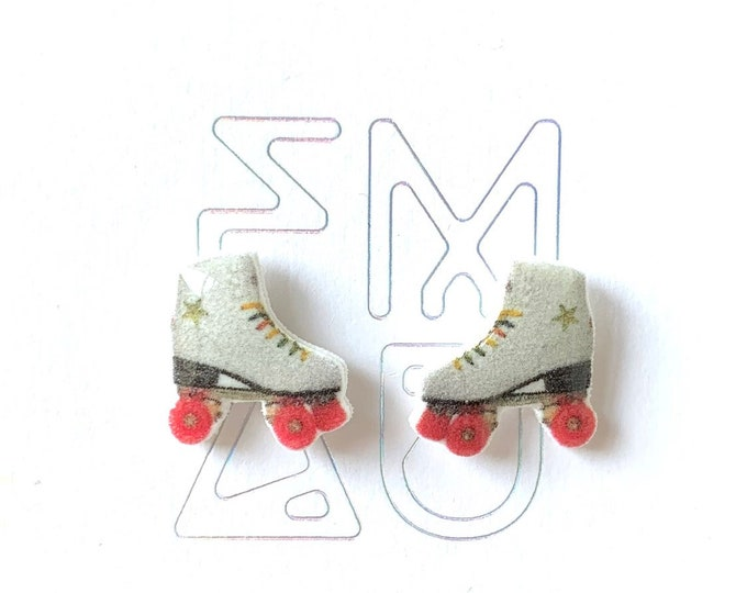 Roller skates handmade hypoallergenic stud earrings girl gift free shipping