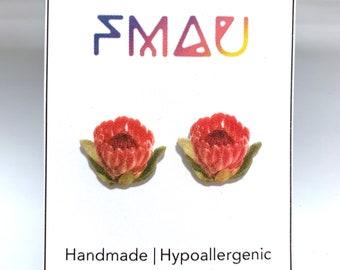 Protea handmade hypoallergenic stud earrings  gift flower