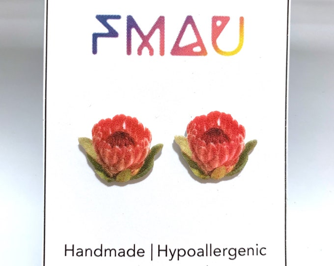 Protea handmade hypoallergenic stud earrings free shipping gift flower