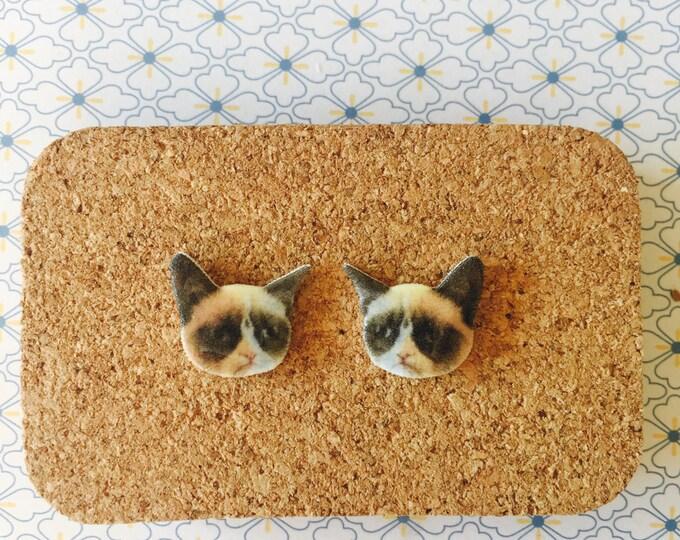 Grumpy cat handmade hypoallergenic stud earrings girl gift cat earrings animal meme  free shipping international
