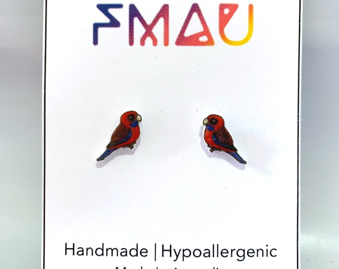 Crimson rosella handmade hypoallergenic stud earrings free shipping australian bird earrings