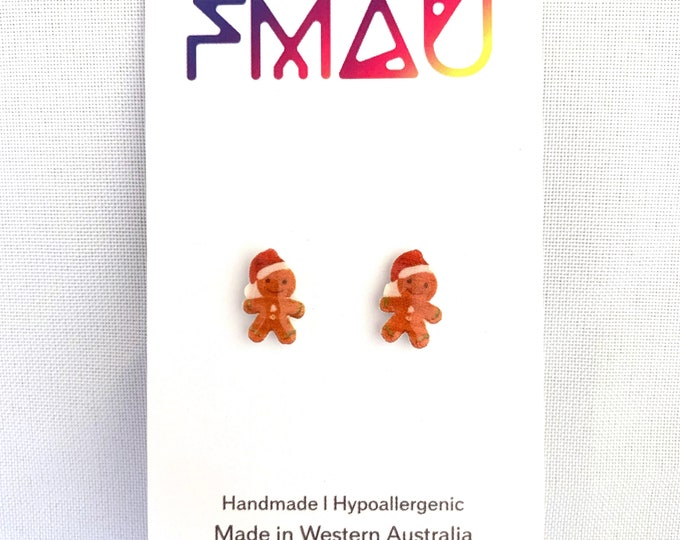Christmas ginger bread man stud earrings handmade hypoallergenic free shipping gift