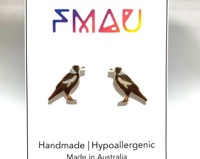 Magpie handmade hypoallergenic stud earrings free shipping gift australian bird fauna
