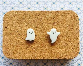 Spooky ghosts handmade hypoallergenic cute halloween stud earrings girl gift scary phantom   international