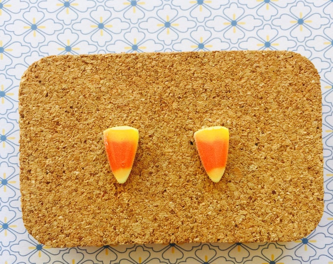 Candy corn handmade hypoallergenic stud earrings sweets candy halloween girl gift  free shipping international