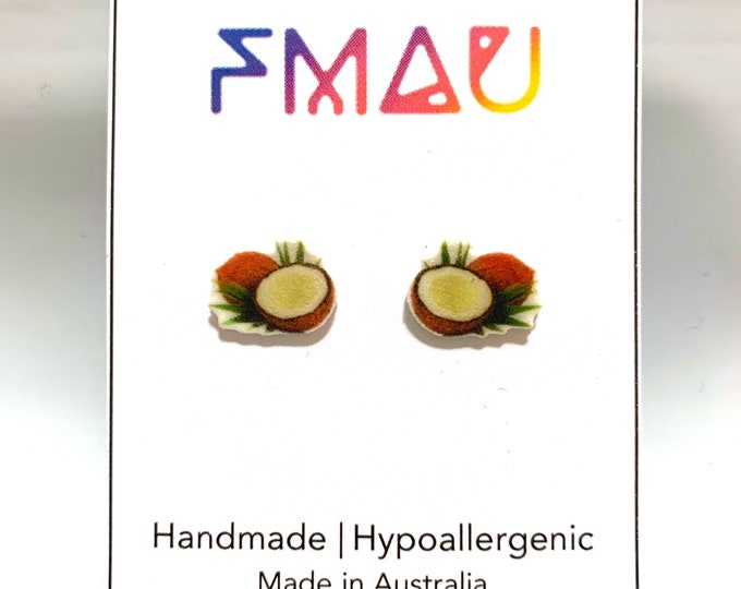 Coconut handmade hypoallergenic stud earrings free shipping gift food