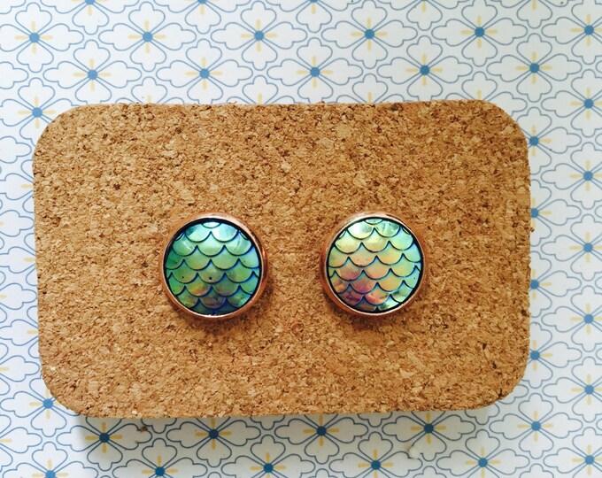 Mermaid tail/scale handmade stud earrings marble girl gift idea ocean fish purple green rose gold