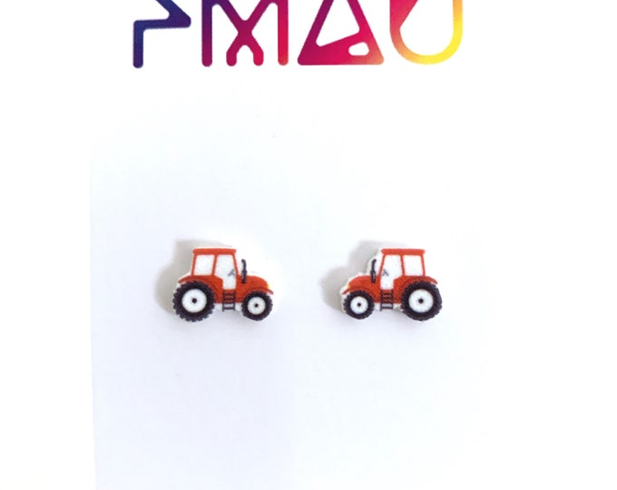 Tractor handmade hypoallergenic stud earrings gift farm
