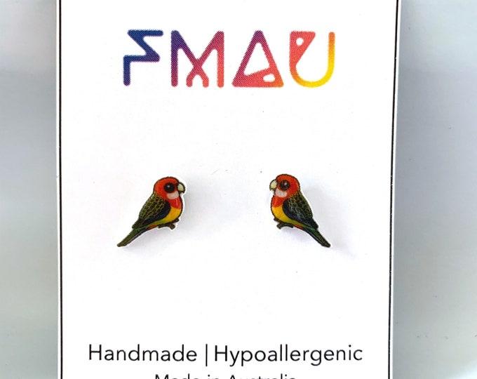 Eastern Rosella handmade hypoallergenic stud earrings free shipping australian bird gift